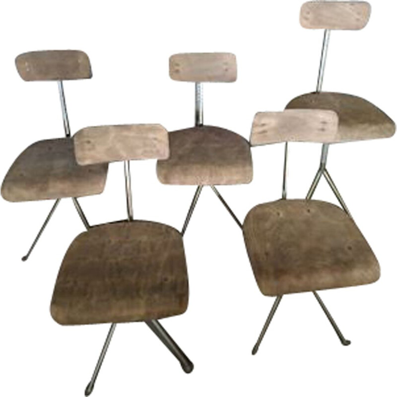 lot of 5 Vintage Chair Odlberg Olson Jean Prouvé Swedish 1960