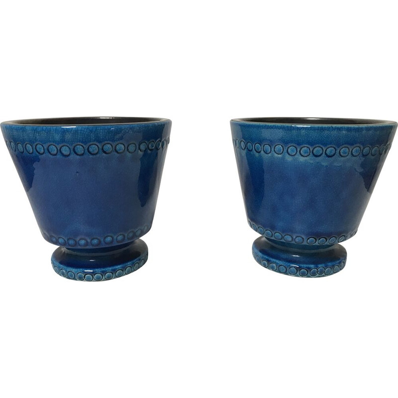 Pair of vintage blue ceramic jars by Pol Chambost