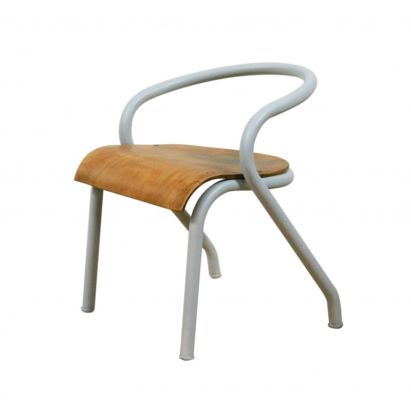 Children chair in metal and wood 1950s