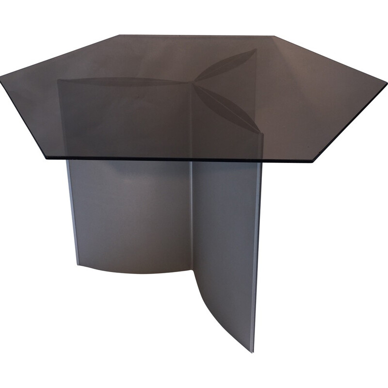 """""""Rosace"""" dining table in glass and metal, Kim MOLTZER and Jean Paul BARRAY - 1968"""