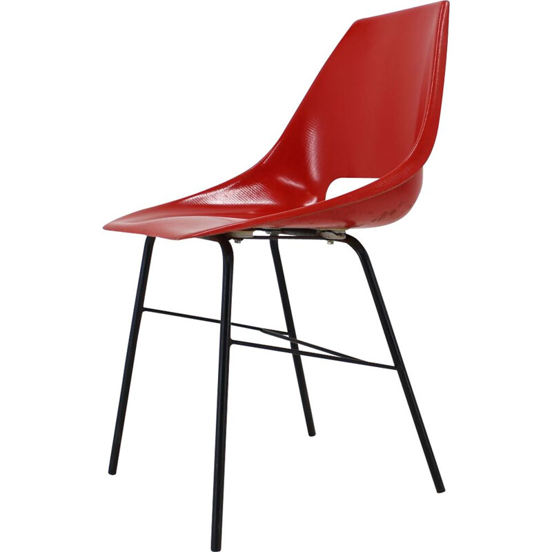 Set of 3 vintage red fibreglass Dining Chairs Czechoslovakia 1960s