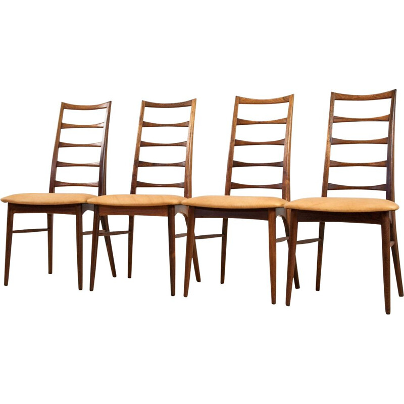 Set of 4 Vintage Niels Koefoed Rosewood High Spindle chairs in Full Grain Leather 1960s