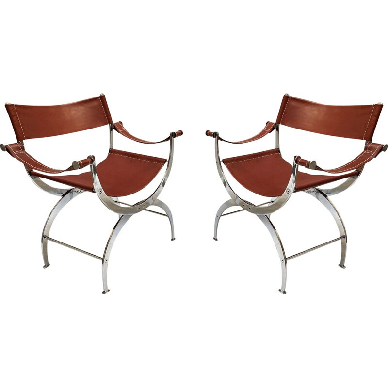 Pair of vintage leather and chromed metal curules chair 1970s