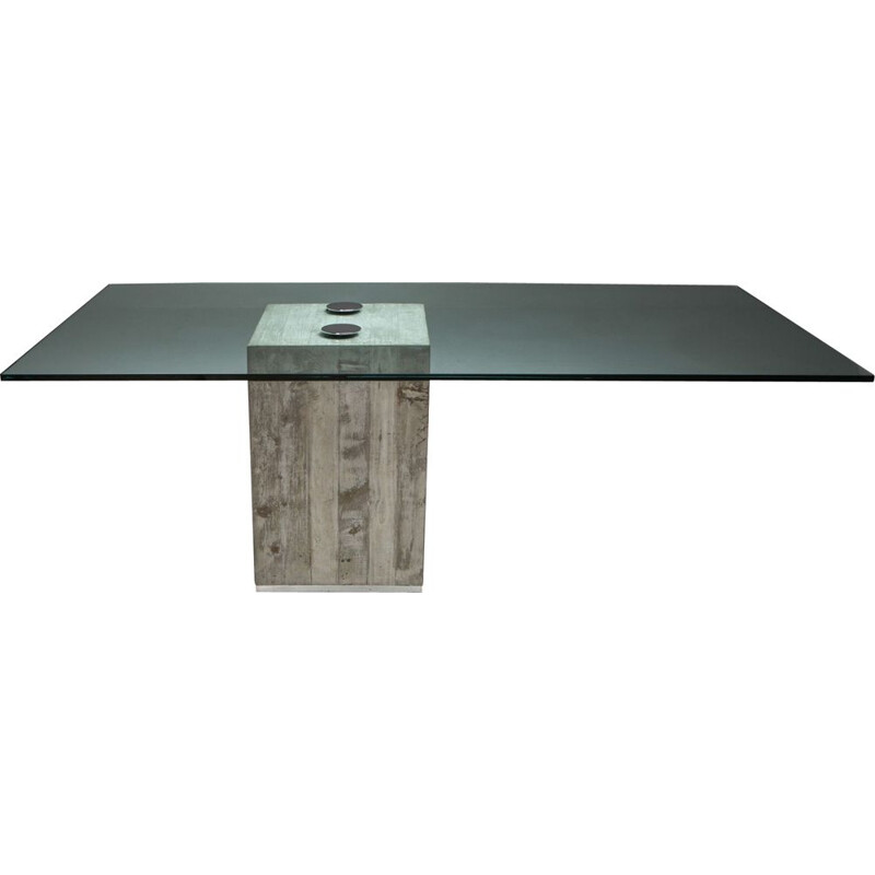Vintage Saporiti Concrete and Glass Dining Table 1970s