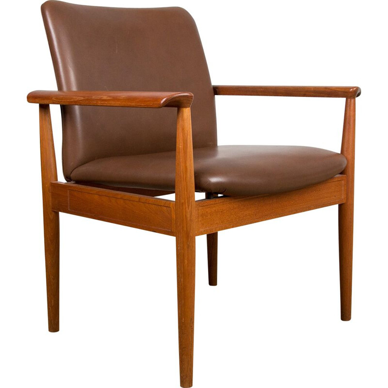 Vintage Teak and Leather Armchairs by Finn Juhl for Cado.Danois 1960s