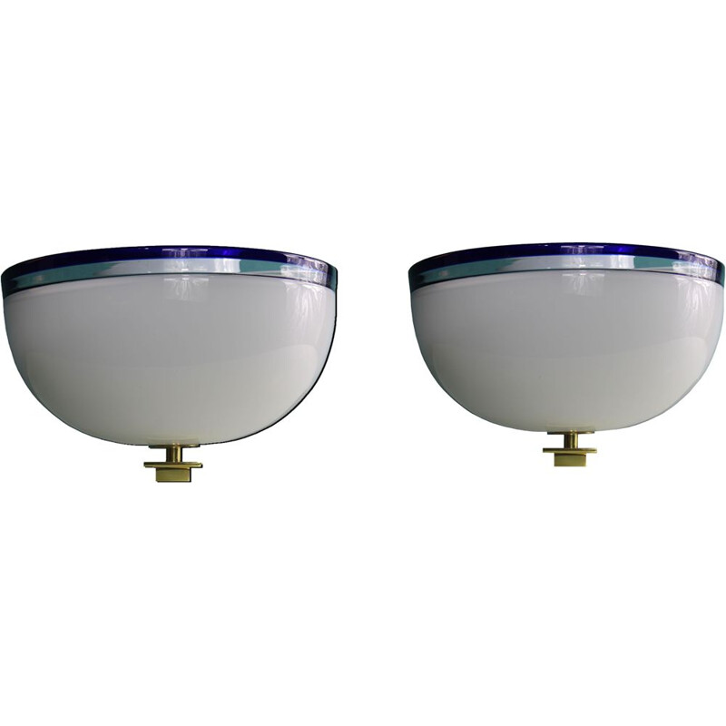 Pair of vintage Venini ceiling lights Murano glass 1980s