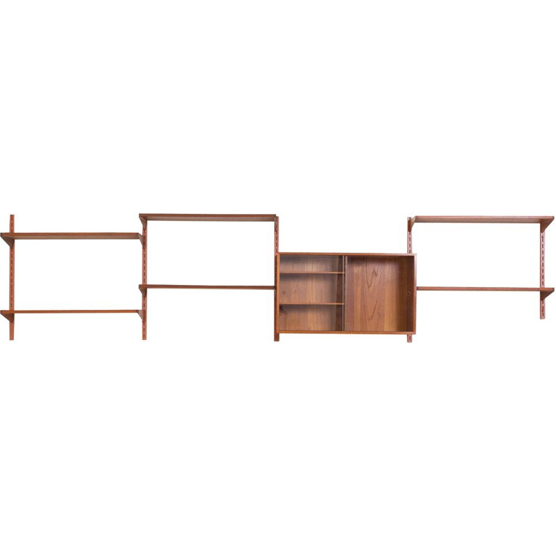 Vintage Wall Unit in Teak with Glass Sliding Door Cabinet by Kai Kristiansen for FM Mobler Danish 1960s