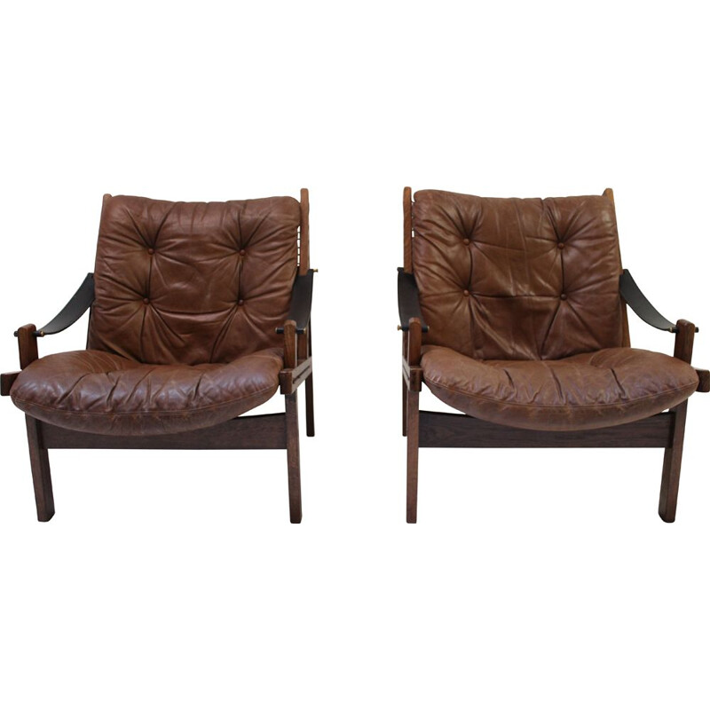 Pair of Hunter vintage armchairs by Torbjorn Afdal 1960s