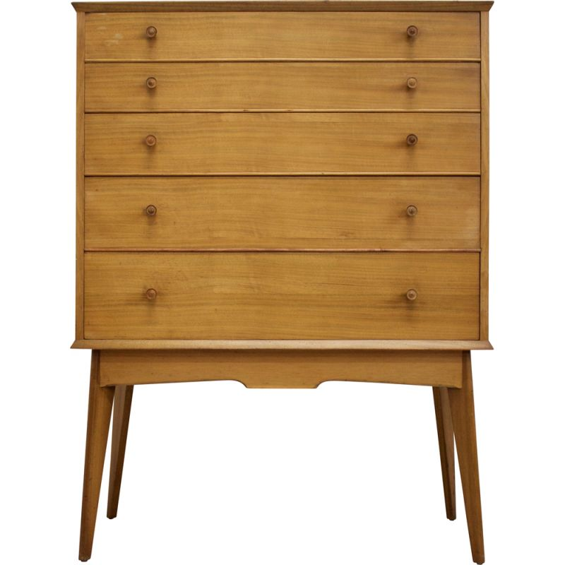 Vintage walnut chest of drawers by Alfred Cox 1950