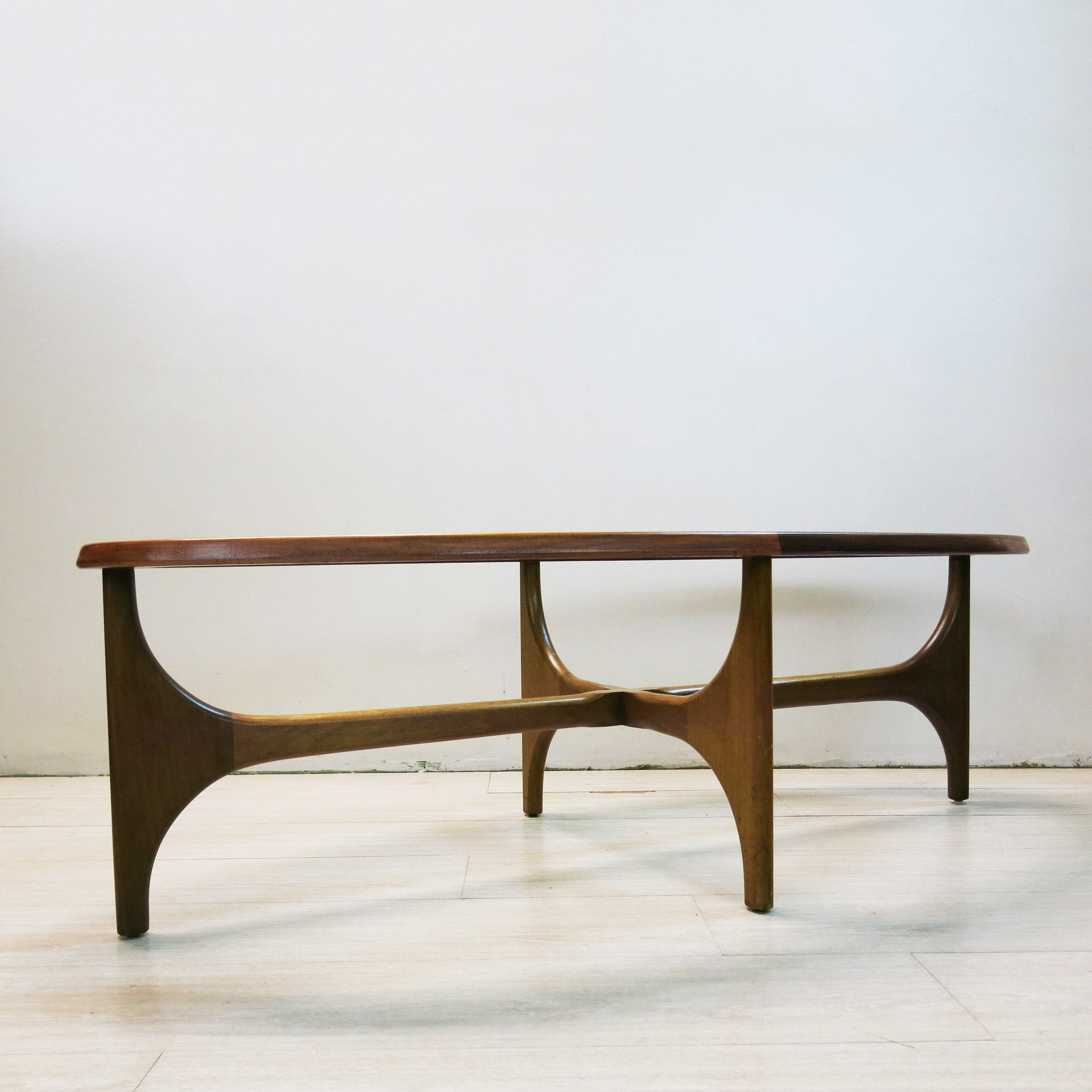 English Stonehill oval coffee table in teak wood and glass ...