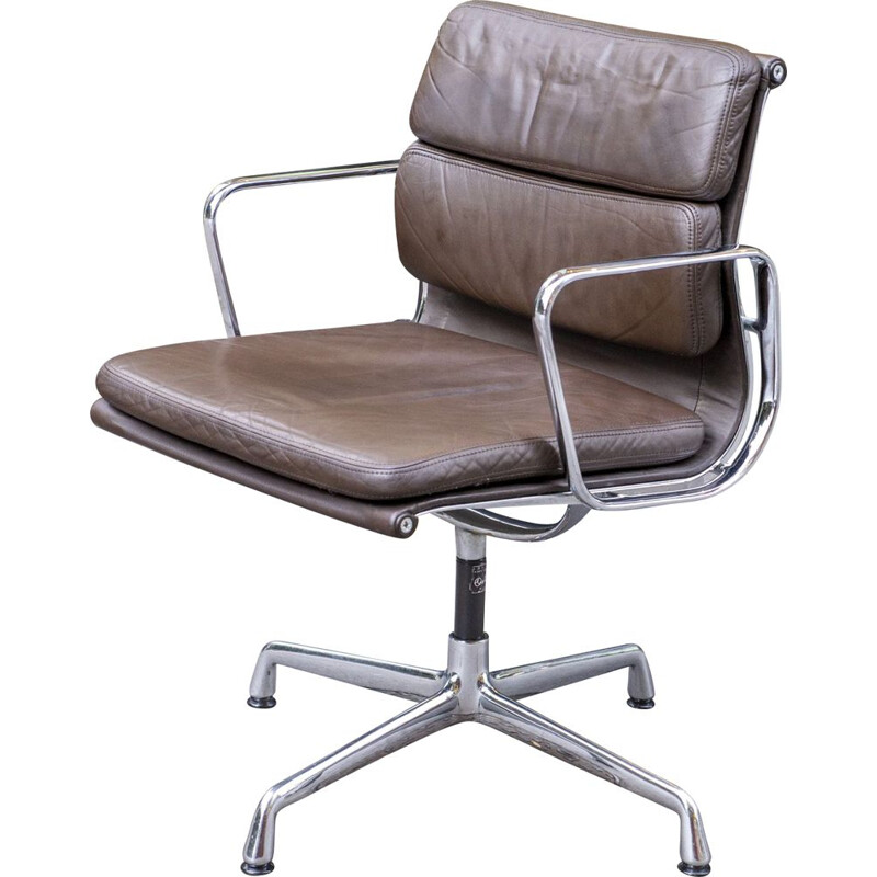 Vintage Soft Pad EA 218 brown armchair by Charles & Ray Eames Herman Miller 1969