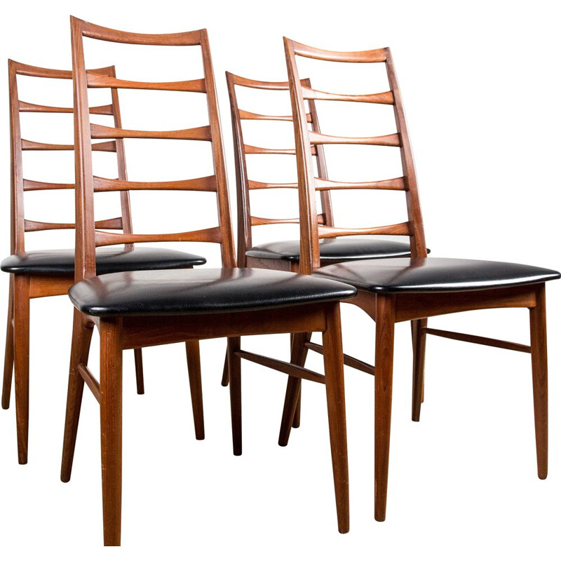Series of 4 vintge chairs in Teak, model Liz from Designer Niels Kofoed Danes 1960