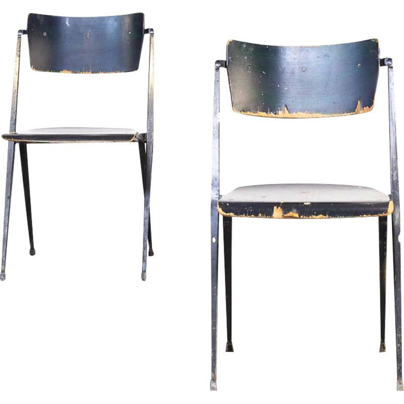 Pair of Vintage Wim Rietveld 'pyramid' chair for Ahrend de Cirkel 1950s