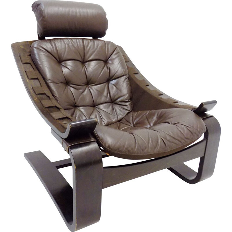 Vintage brown leather lounge chair by Ake Fribytter Nelo Kroken