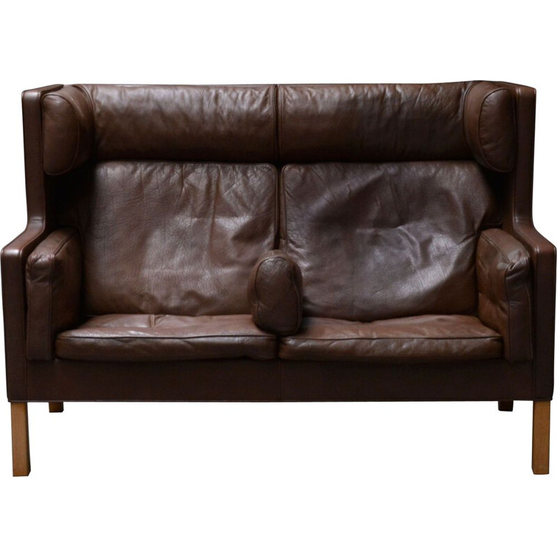 Vintage brown leather sofa Borge Mogensen Denmark