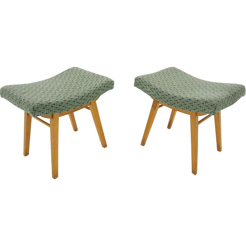 Pair of vintage Footstools  Czechoslovakia 1950s