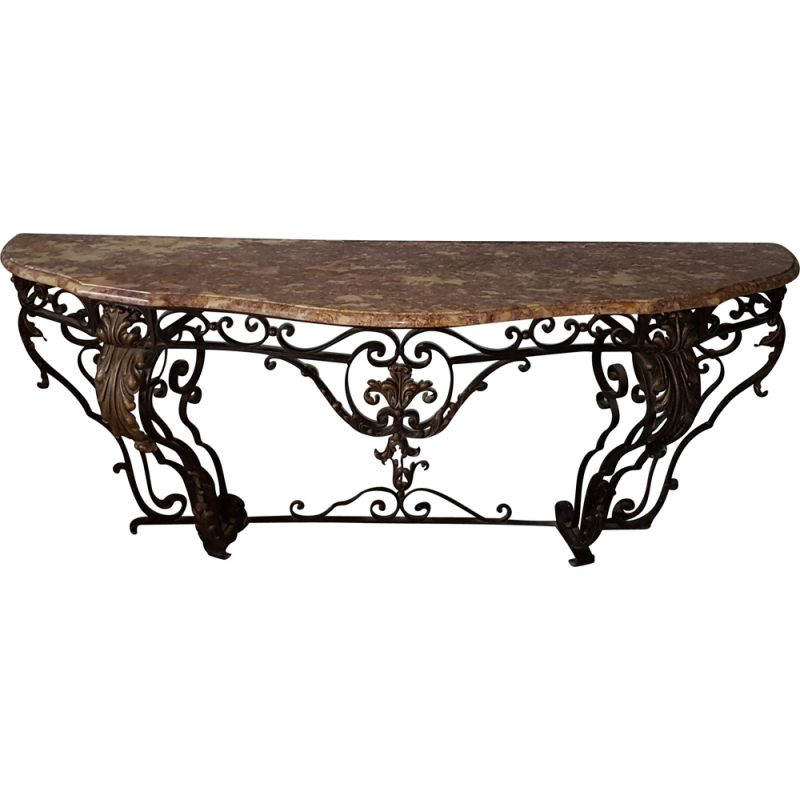 Vintage wrought iron console art deco marble 1930