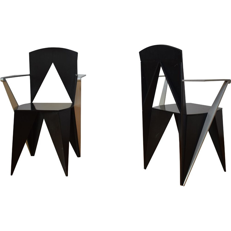 Pair of vintage chairs by Adriano and Paolo Suman for Giorgetti 1980s