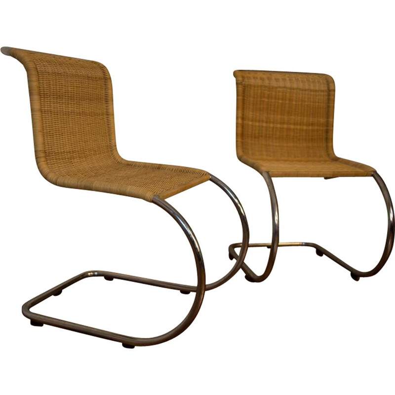 Pair of vintage Mies Van Der Rohe rattan chairs