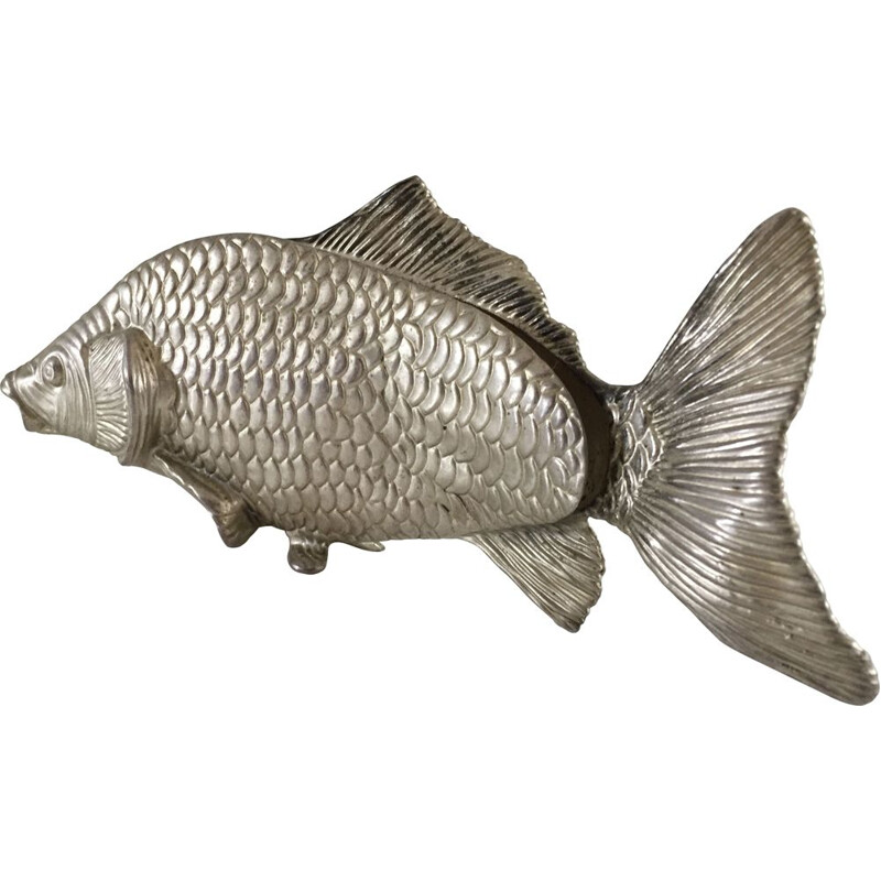 Vintage fish sculpture in silver plated metal