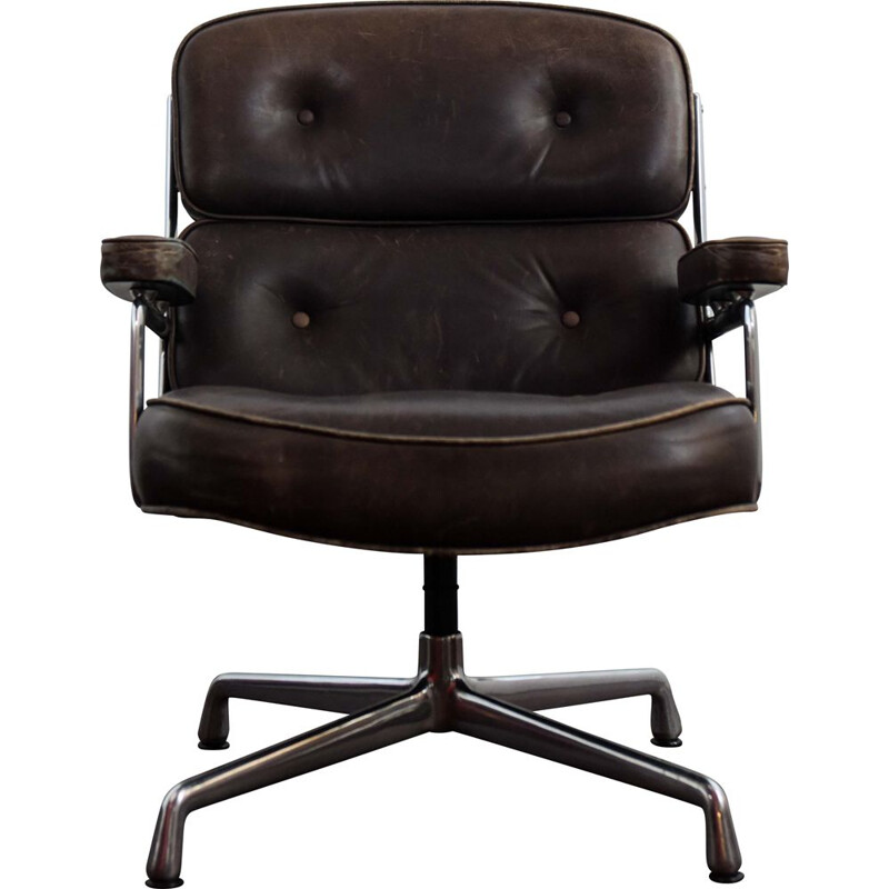 Vintage leather and aluminium office armchair by Charles and Ray Eames 1960