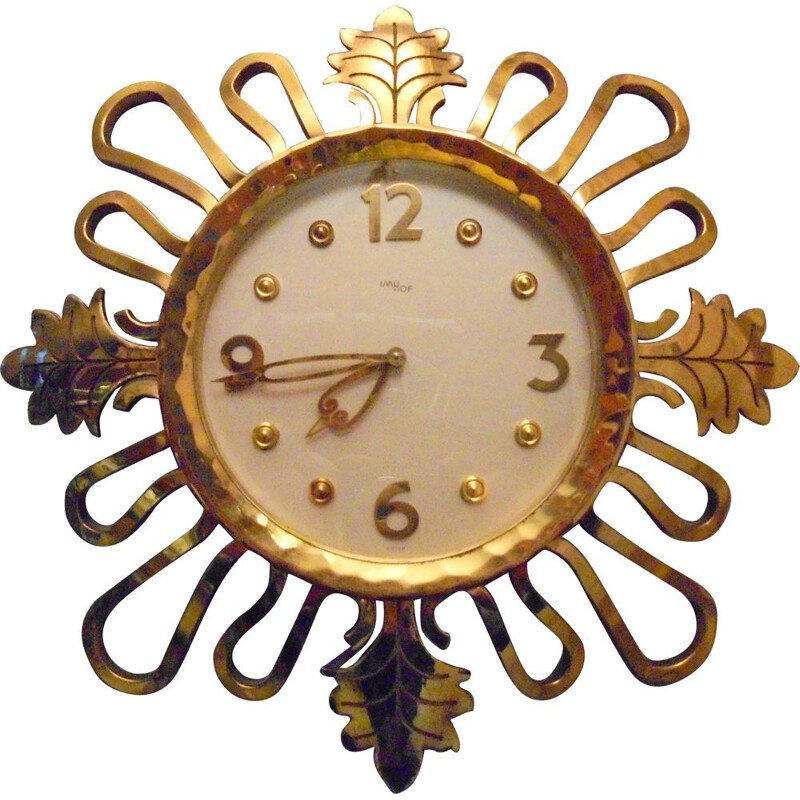 Vintage gilt bronze wall clock, Art Deco, IMHOF 1950