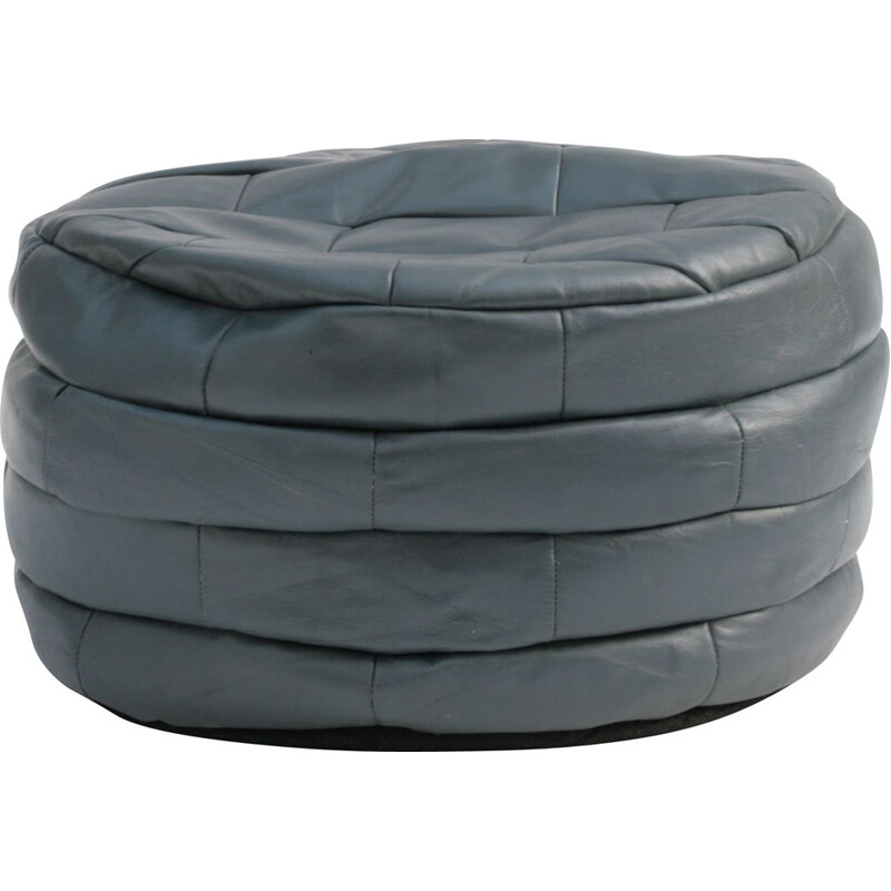 Vintage round sede pouffe in grey leather patchwork 1970s