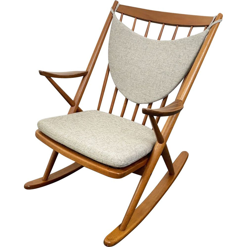Vintage Teak Rocking Chair by Frank Reenskaug for Bramin Denmark 1960s