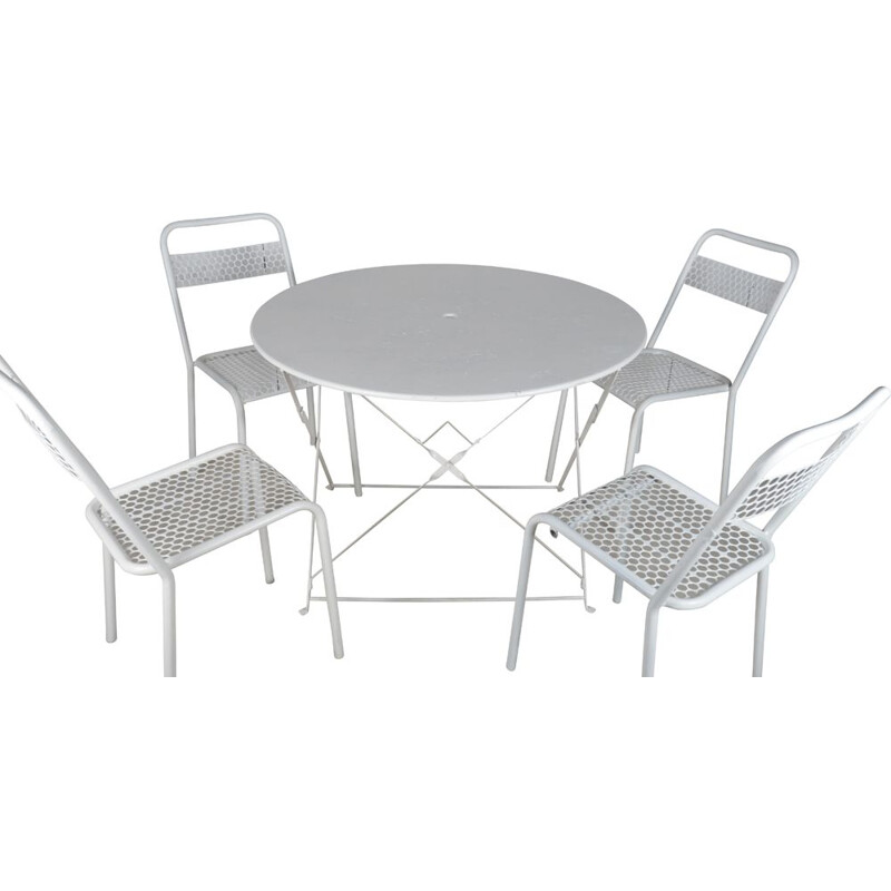 Vintage Iron folding table and 4 chairs by René Malaval