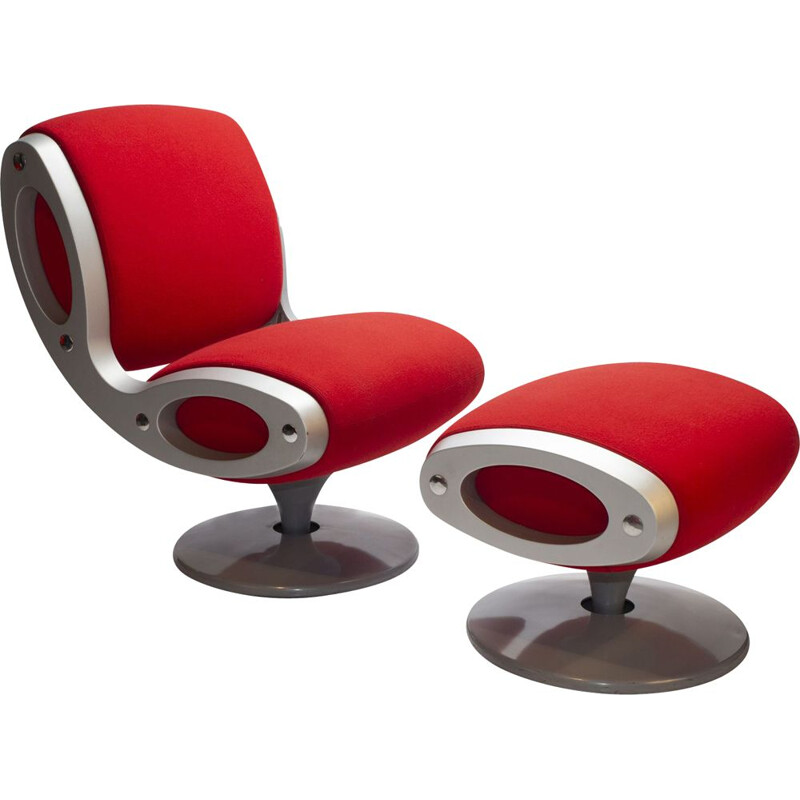 Vintage Red Gluon Chair & Stool by Marc Newson for Moroso Italy
