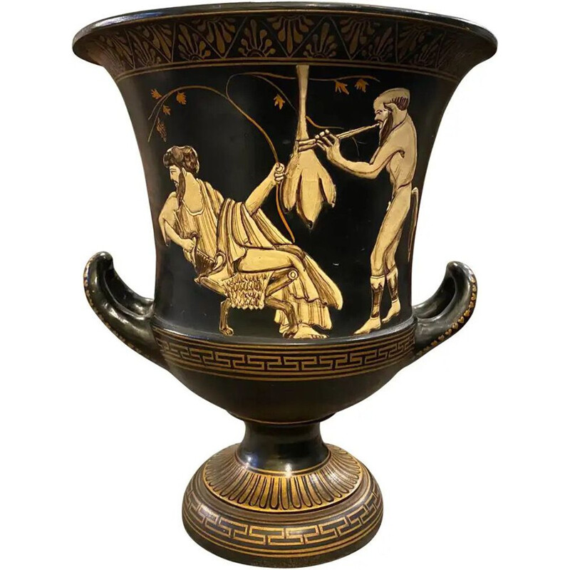 Vintage Handcrafted Black and Gold Terracotta Greek Crater Vase 1950s