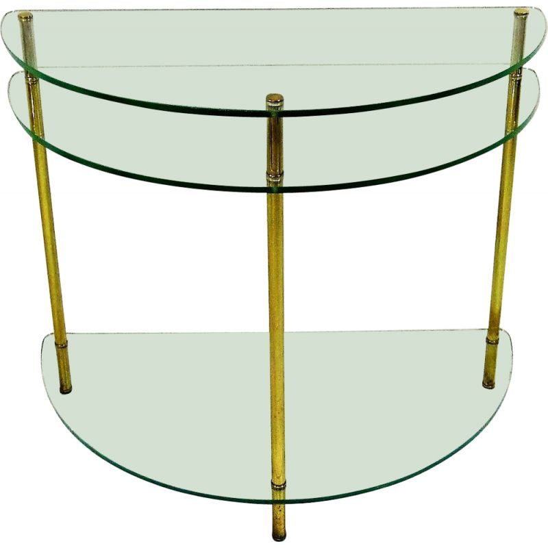 Vintage Glass & brass side table hall table 1970s