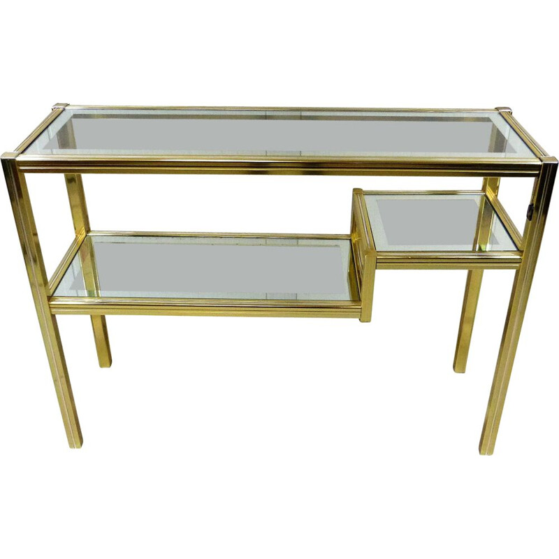 Vintage glass & brass side table Italian 1970s