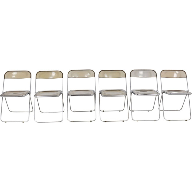 Lot of 6 vintage Plia chairs by Giancarlo Piretti for Castelli 1970