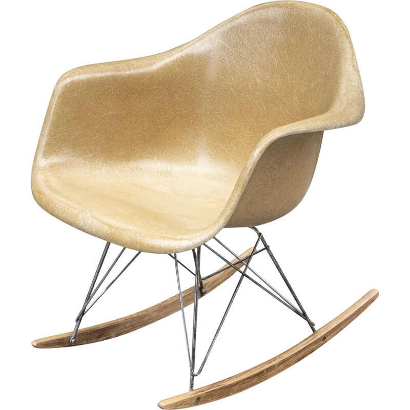 Vintage Light Ochre Rocking chair by Charles & Ray Eames 1960s