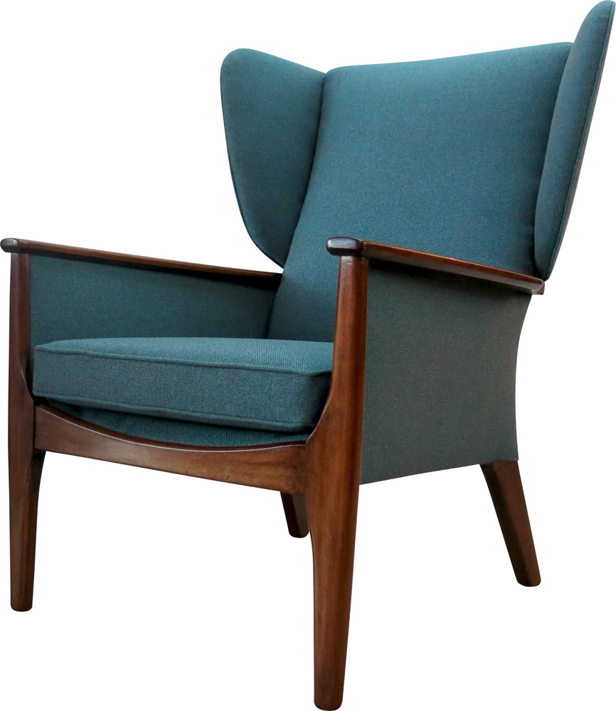 "Parker Knoll ""Wingback"" armchair in teak and fabric ..."