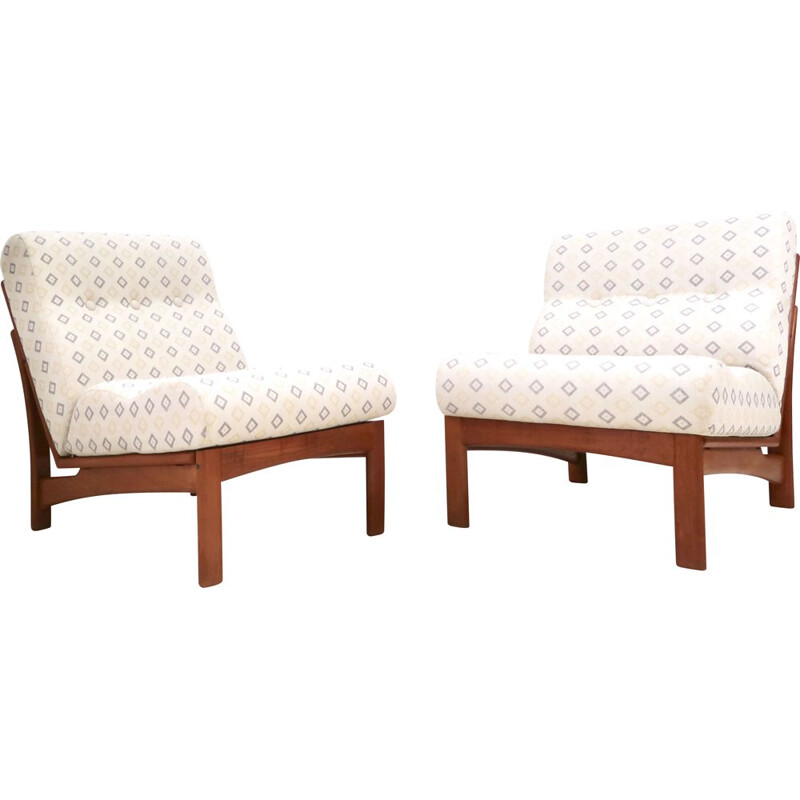 Pair of Vintage Teak Easy Chair by Grete Jalk for Glostrup Mobelfabrik 1960s