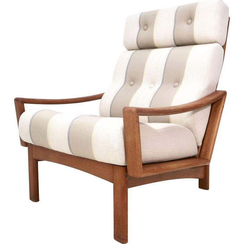 VIntage Teak Highback Easy Chair by Grete Jalk for Glostrup Mobelfabrik 1960s