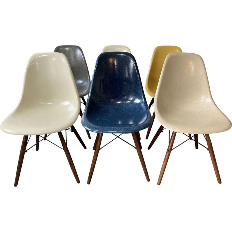 Set of 6 vintage DSW Charles and Ray Eames 1950 chairs