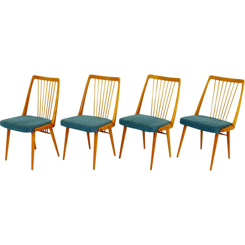 Set of 4 vintage beech chairs Sweden 1950s