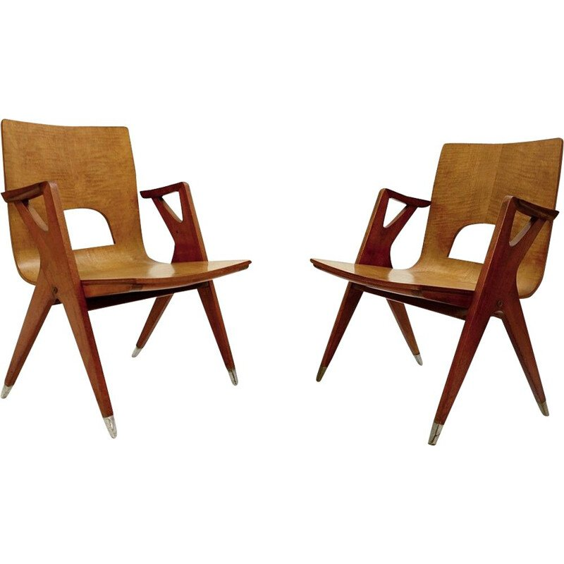 Pair of vintage chairs By Ico Parisi For Malatesta And Mason Italy 1950s
