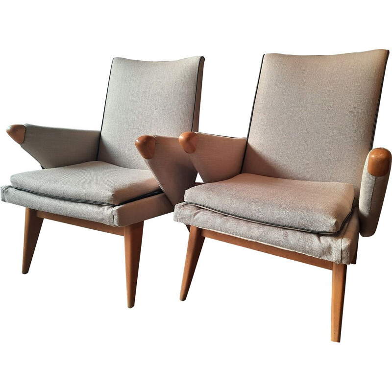 Pair of vintage armchairs redone, stamped parker knoll
