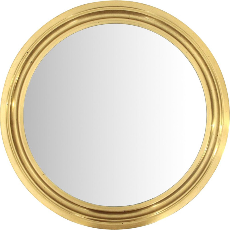 Vintage 'Narciso' mirror with brass frame by Sergio Mazza for Artemide, 1960s