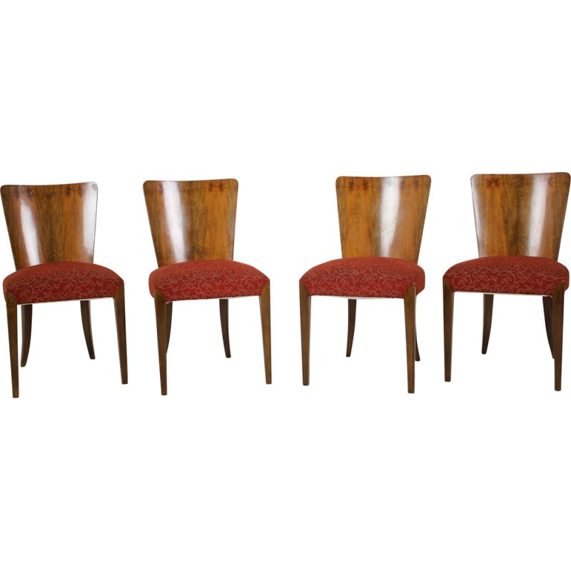 Set of 4 vintage Art Deco Dining Chairs H-214  by Jindrich Halabala for UP Závody, 1950s