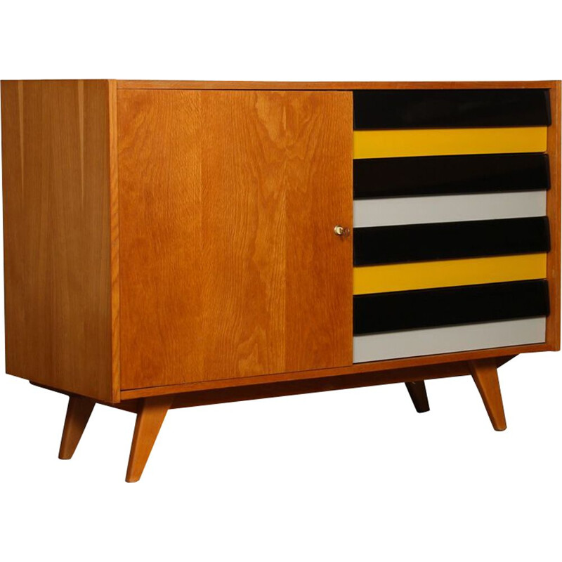 Vintage yellow chest of drawers, model U458 by Jiri Jiroutek, 1960