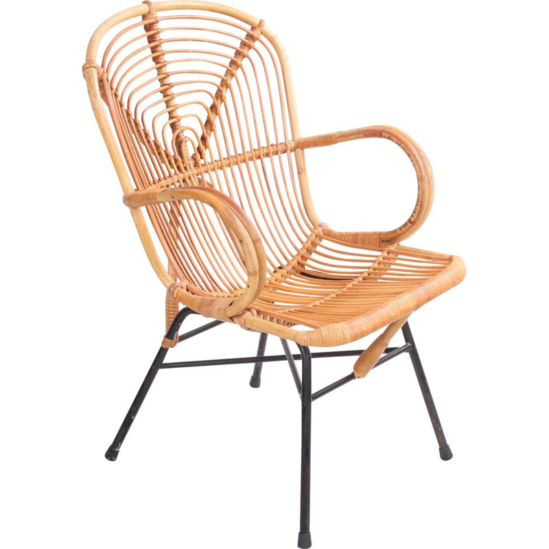 Vintage Noordwolde bamboo lounge chair 1950s