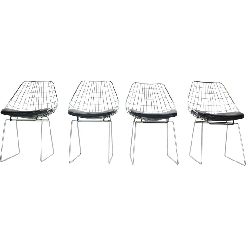 Set of 4 vintage Wire Chairs Model 'SM05' Cees Braakman for Pastoe, 1950s