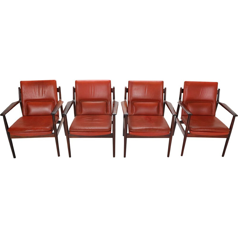 Set of 4 vintage Red Leather Armchairs for Sibast,Arne Vodder  Denmark 1960s