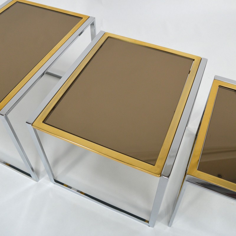 Set Of 3 Nesting Italian Side Table In Glass Willy Rizzo 1970s