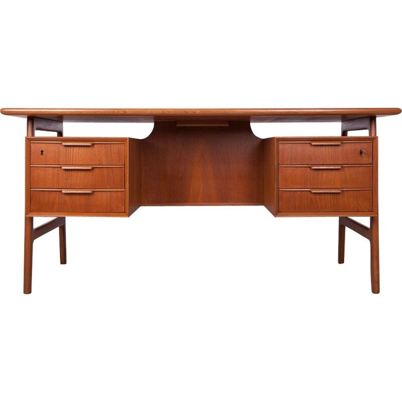 Vintage teak desk Omann Juniors 1950